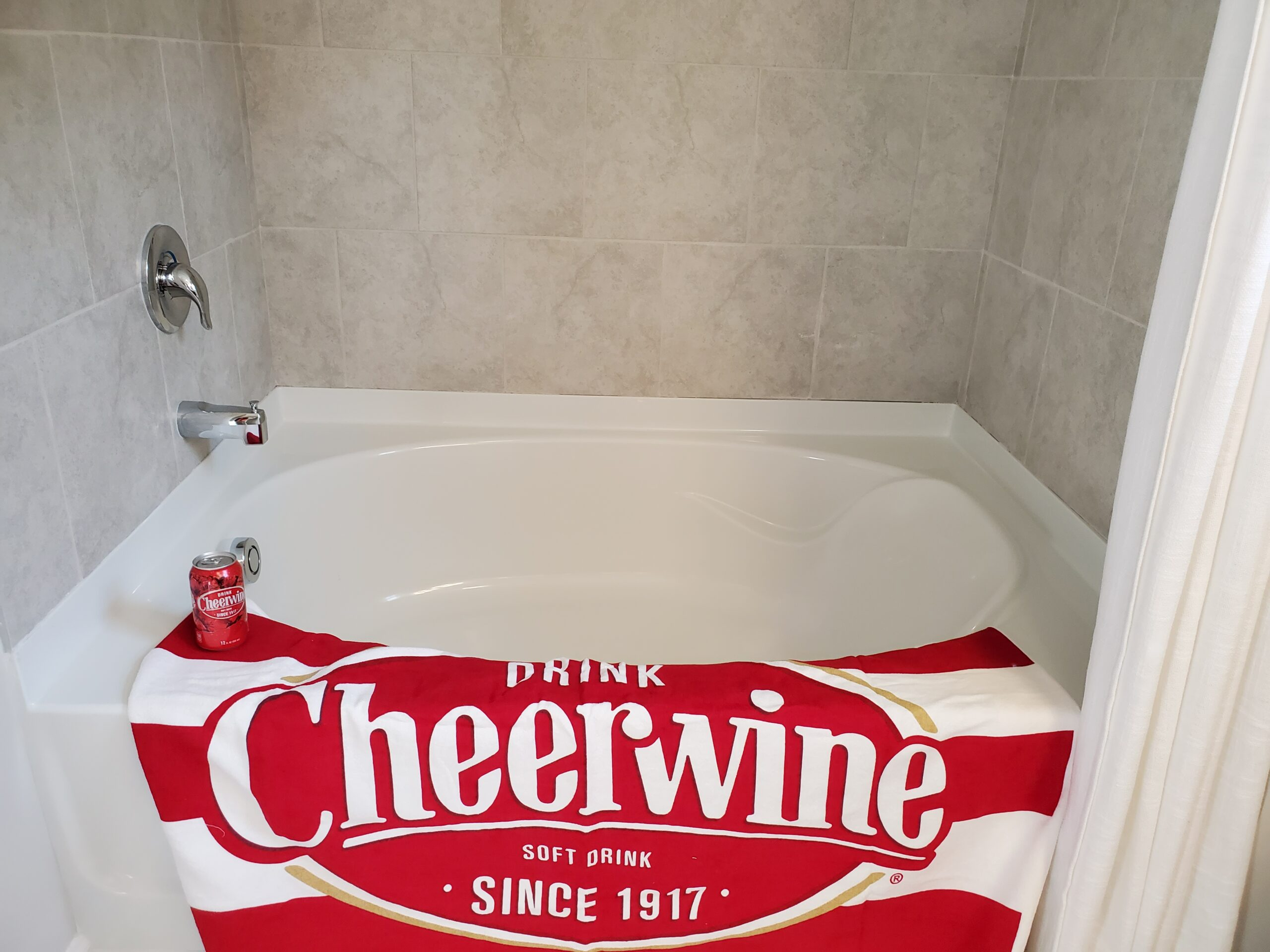 Cheerwine in the tub. Sip and soak.